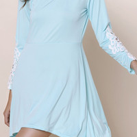 Scoop Neck Long Sleeve Hollow Out Asymmetrical Dress