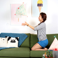 Popsicle Triangle Cushion (Turqoise)