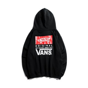 cabdf3d4a5 VANS autumn and winter trend men and women loose classic back print hoodie  black