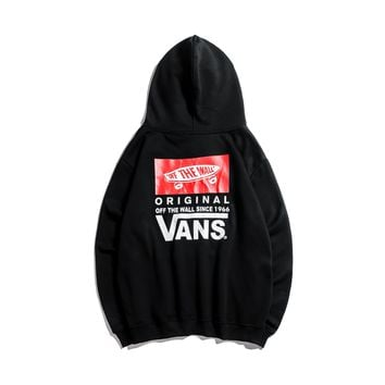 VANS autumn and winter trend men and women loose classic back print hoodie black