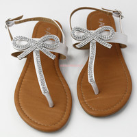 Bowing Out White Rhinestone Bow Sandals