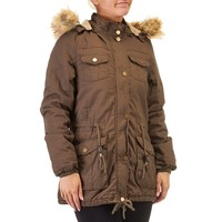 Hooded Anorak Jacket with Faux Fur Lining 110254273