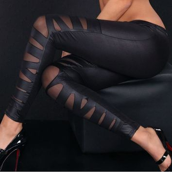Women Fashion Leather Cross Bundled Perspective Mesh Leggings Sexy Skinny Bow Fitness Leggings Lady Casual Bottom Leggins 833069