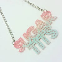 Sugar Tits Acrylic marquee Necklace Glittered Glitter dust OMBRE Torture Couture pinup psychobilly burlesque lolita cosplay egl rockabilly