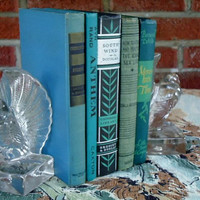 Decorative Book Set Teal Blue and Green Vintage Home Decor Circa 1940s Ayn Rand Classic