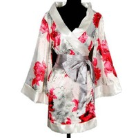 Shanghai Tone® Kimono Robe Yukata Nightie Sleepwear Floral-White Bedroom One Size