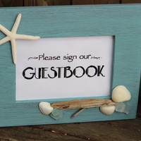 "Beach wedding ""Sign our Guestbook"" Starfish Picture Frame , Artistic Coastal Home Decor"