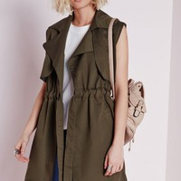 LIGHTWEIGHT SLEEVELESS TRENCH COAT KHAKI