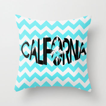 California Chevron Blue Green Teal 16x16 PILLOW los angeles Bedding Beach Palm Trees Teen Room Cottage Decor