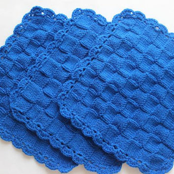 Hand Knit Washcloths - Dishcloths - Set Of Three
