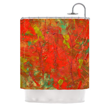 "Jeff Ferst ""Crimson Forest"" Red Green Shower Curtain"