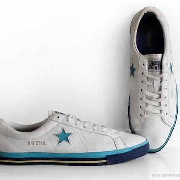 white leather converse one star sneakers vintage trainers low tops casual shoes wh