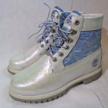 Chelise iridescent oil slick white leather Timberland ankle boots pretty ooak pastel h