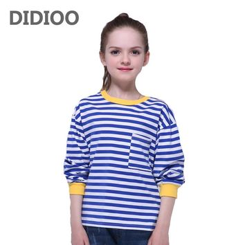 Kids T-Shirts For Girls Clothes Long Sleeve Striped Tees Cotton Cartoon Girls T-Shirts O-Neck Children Tops