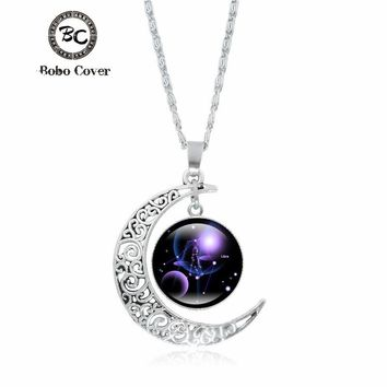 Crescent Moon Necklace 12 Constellation Art Glass