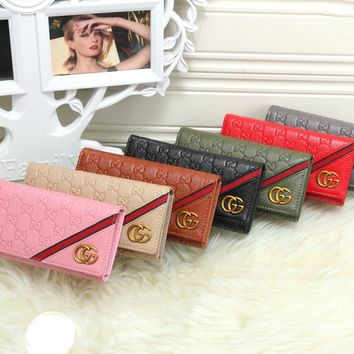"""Gucci"" Women Multi-card Bit Purse Fashion Multicolor Stripe Double G Embossed Long Section Three Fold Wallet"
