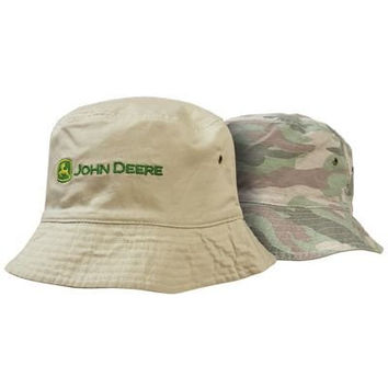 John Deere Bucket Hat - Reversible Pink Camo and Tan
