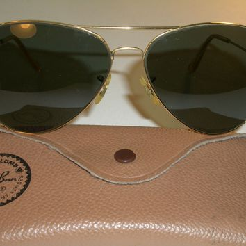 1960's 62[]14mm VINTAGE B&L RAY BAN L2846 G15 LARGE METAL II AVIATOR SUNGLASSES