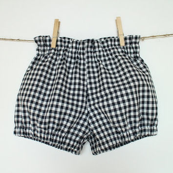 Girls bubble shorts Toddler girls shorts Black white gingham shorts Geometric checkered shorts Girls bloomers Girls clothes
