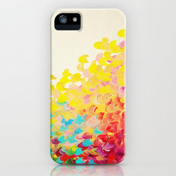 CREATION IN COLOR - Vibrant Bright Bold Colorful Abstract Painting Cheerful Fun Ocean Autumn Waves iPhone Case by EbiEmporium | Society6