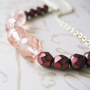 Autumn Burgundy Beaded Necklace - Cranberry