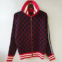 GUCCI Fashion Casual Trending Long Sleeve Zipper Cardigan Jacket Coat RED G