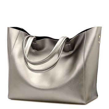 Angelica Luxury Faux Leather Handbag in Silver, Black & Gold