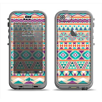 The Tan & Teal Aztec Pattern V4 Apple iPhone 5c LifeProof Nuud Case Skin Set