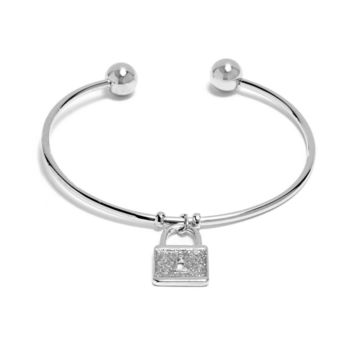 G By Guess Silver-Tone Glitter Paper Lock Charm Bangle