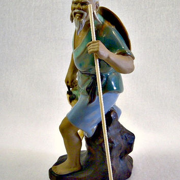Mid Century Chinese Mud Man Fisherman, Shiwan Pottery Figurine