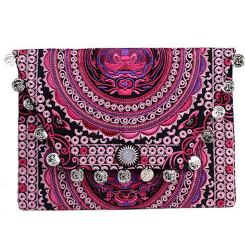Pink Embroidered Clutch With Silver Coins Handmade Thailand (BG306WC-96C8)
