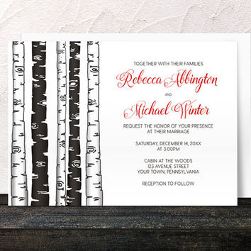 Wedding Invitations - Monochrome Birch Tree with Red - Printed Invitations