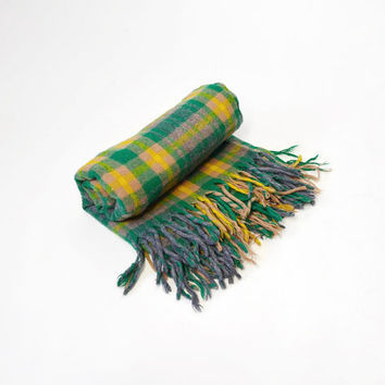 Vintage Green & Yellow Plaid Wool Camp Blanket by Troy Mills