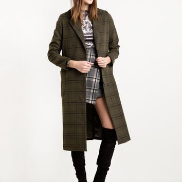 Olive Plaid Long Coat