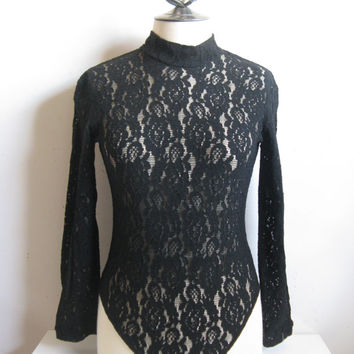 Vintage 1980s Lace Bodysuit Black Lace Stretch 1 pc Long Sleeve Bodysuit Medium