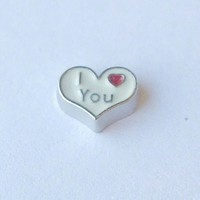 I Love You Heart White Floating Charm