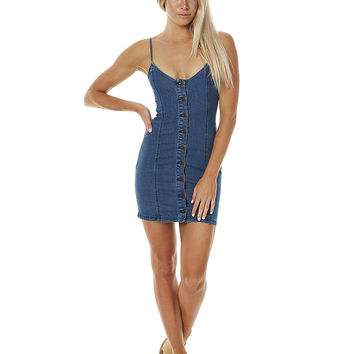 MINKPINK BLUE LAGOON WOMENS DENIM CAMI DRESS - BLUE