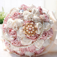 New Pink White Silk Simple Holding Rose Wedding Bouquet Pearl Crystal Pin Brooch