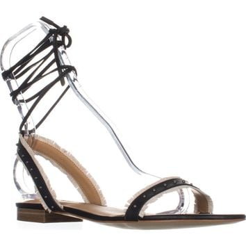 Lucky Brand Toree Ankle Strap Flat Sandals, Black, 8.5 US / 38.5 EU