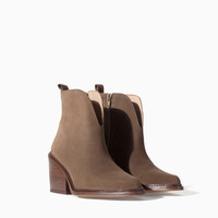 LOW CUT LEATHER ANKLE BOOT