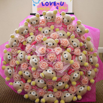 """Japanese Cartoon Bear in a GIGANTIC flower bouquet (25"""" in diameter). Give her a BIGGGG GIANT surprise! Great gift for her!"""