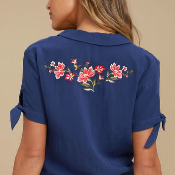 Awesome Blossom Navy Blue Embroidered Crop Top