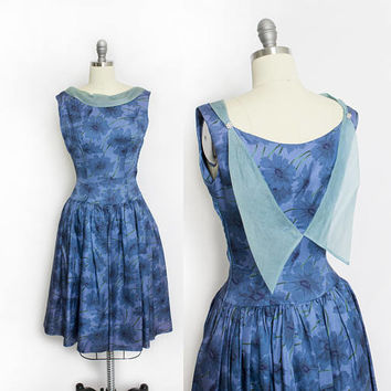 Vintage 1950s Dress - Carole King Blue Floral Acetate Full Skirt Party Dress 50s - XS Extra small