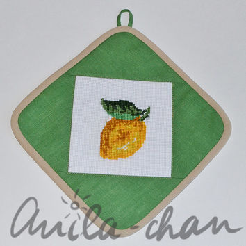 Set of Citrus Fruit Cross Stitched Green Pot Holder, linen pot holder with oranges, lemons, and cherries, cross stitched pot holder