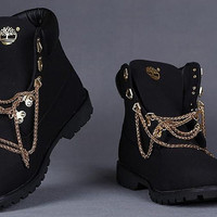Black and White customized Timberland boots