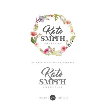 Photography logo watermark, Premade logo, Branding package, Logo design, Floral wreath, branding kit, Watercolor logo, Vintage logo 23