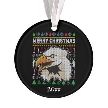 Eagle Ugly Christmas Sweater Wildlife Series Ornament