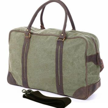 Vintage military Canvas Leather men travel bags Large Canvas men luggage bags Weekend duffel bags Overnight Bag tote Big