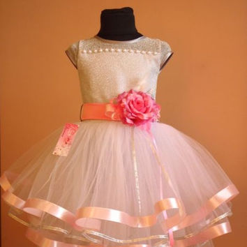 Pink chic flower girl dress Chiffon flower girl dress Rustic flower girl dress blush Ivory lace flower girl dress pearls Pink flower dress