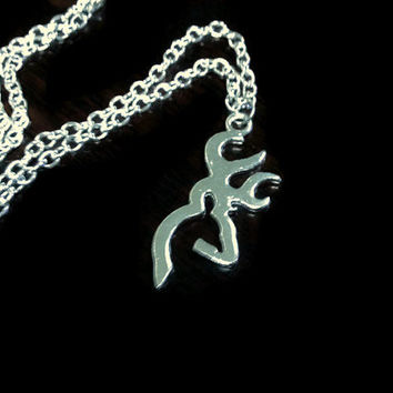 BROWNING Style Deer Charm Hunter Necklace/ Deer Necklace/ Buck / Doe Hunting Necklace